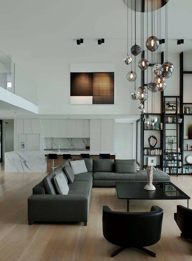 Gray Living Room: How To Decorate High Ceilings